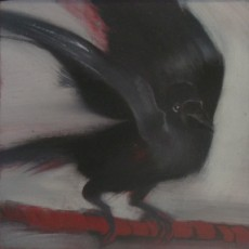 'Crow 1' mixed media 12.5x12.5cm SOLD