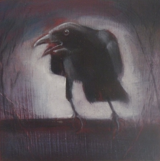 'Crow 2' oil on board 12.5x12.5cm SOLD
