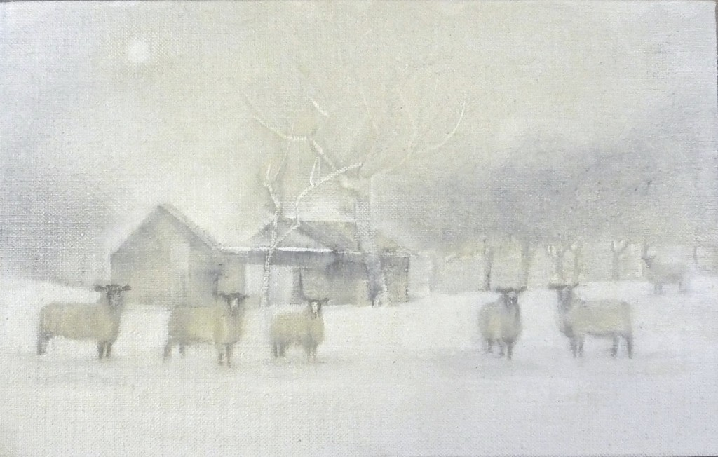 'Winter Sheep' oil on linen 17x27cm SOLD