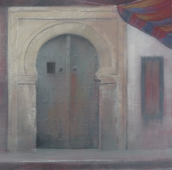 'Tunisian Doorway 5' oil on board 15x15cm SOLD