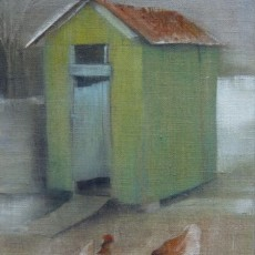 'Chicken Shed 2' oil on board SOLD