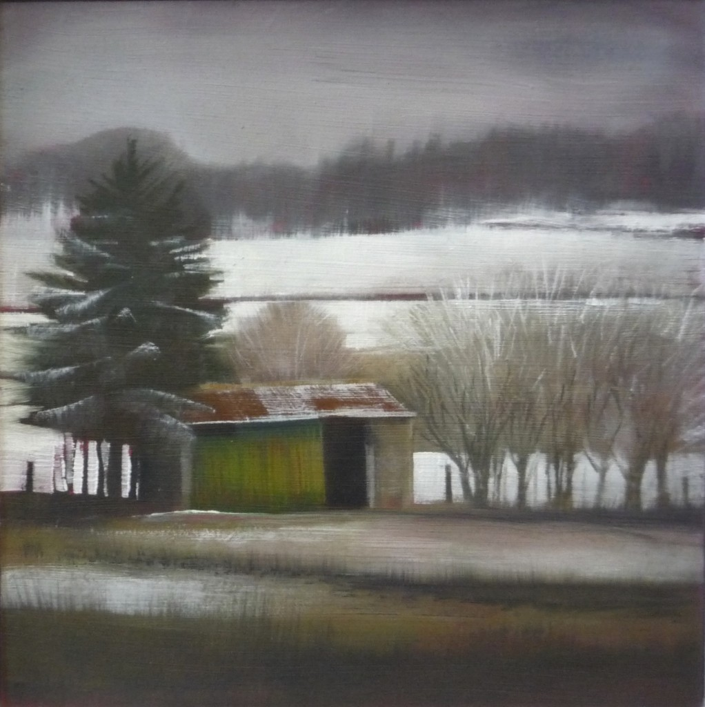 'Chicken Shed' mixed media  on board 18x18cm SOLD