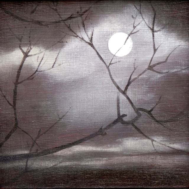 'Moon 2' mixed media on board 12.5x12.5cm SOLD