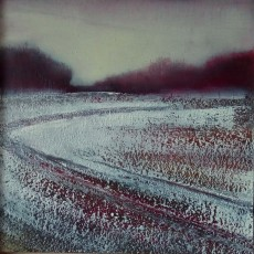 'Ploughed' mixed media 16x16cm SOLD