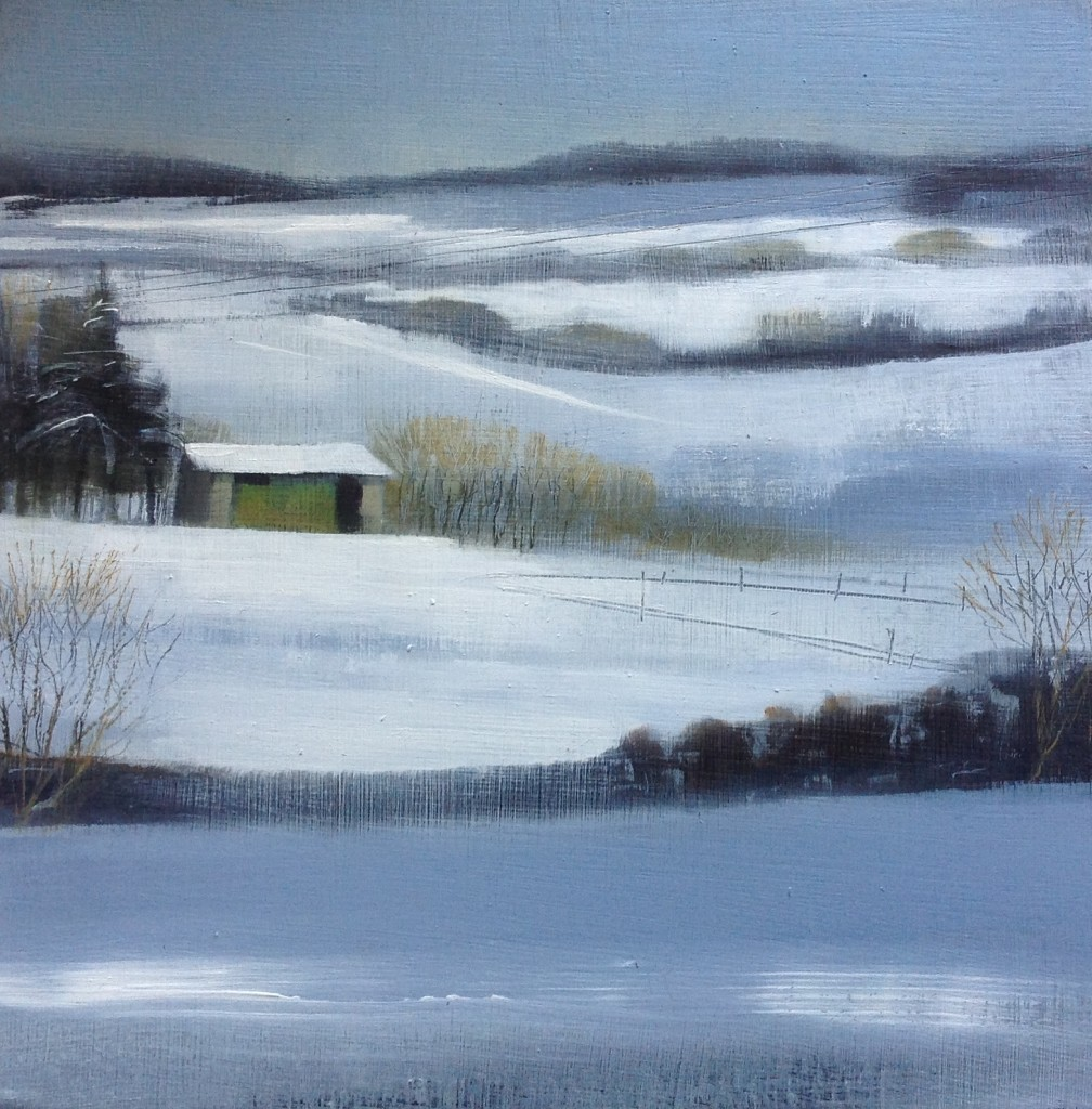 'Sheep Shed' oil on board 20 x 20 cm SOLD