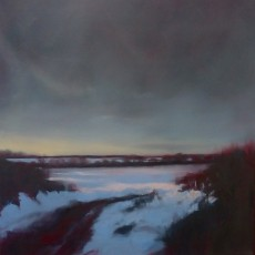 'Winter Sunset' oil on linen 61 x 61 cm