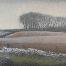 'Frosty Field' mixed media 15 x 30 cm SOLD
