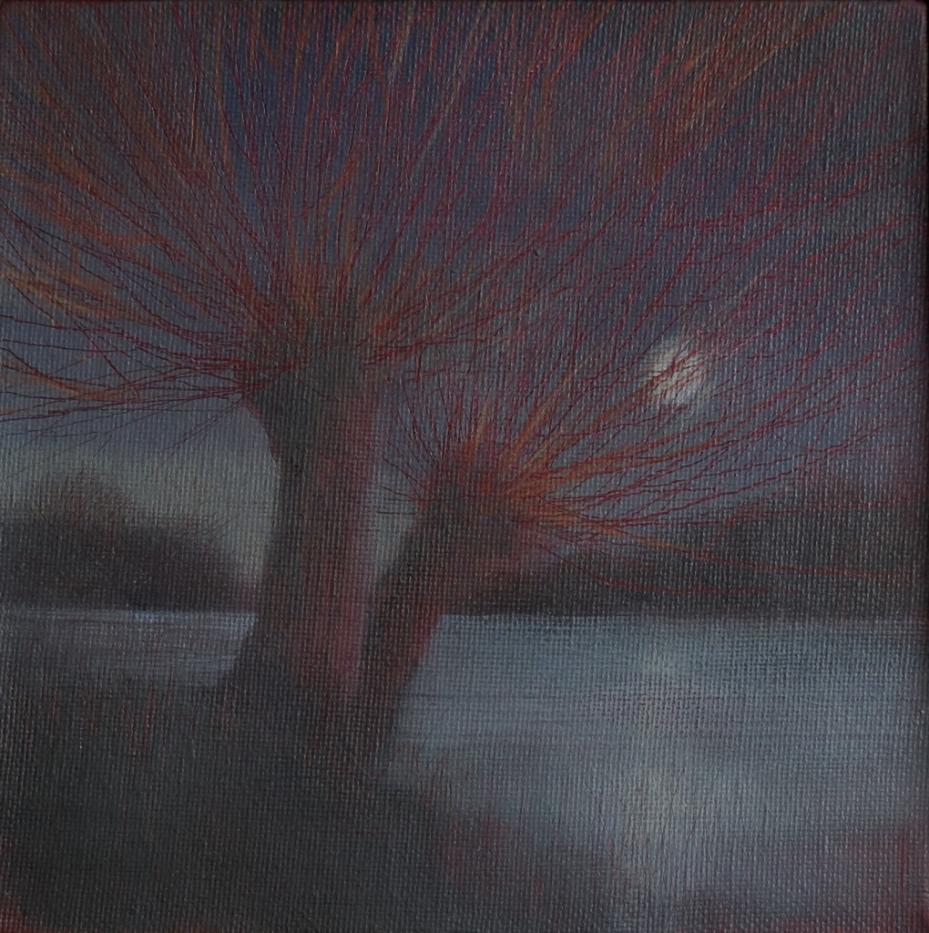 'Moon Across the Lake' oil on   canvas board 15x15cm  £150 SOLD