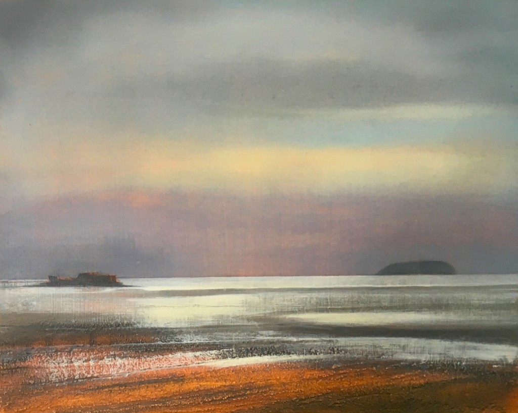 Steep Holm from Sand Bay mixed media 20x25 cm SOLD