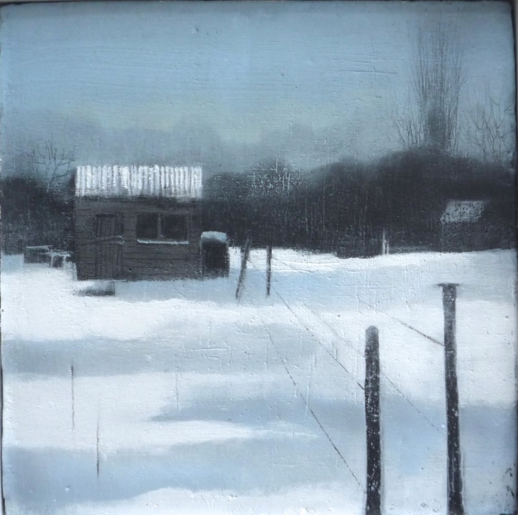 'Allotment 6' oil on board 15.5 x 15.5 cm SOLD