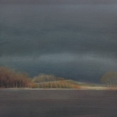 'Across the Dam' oil on board 15.5 x15.5 cm SOLD
