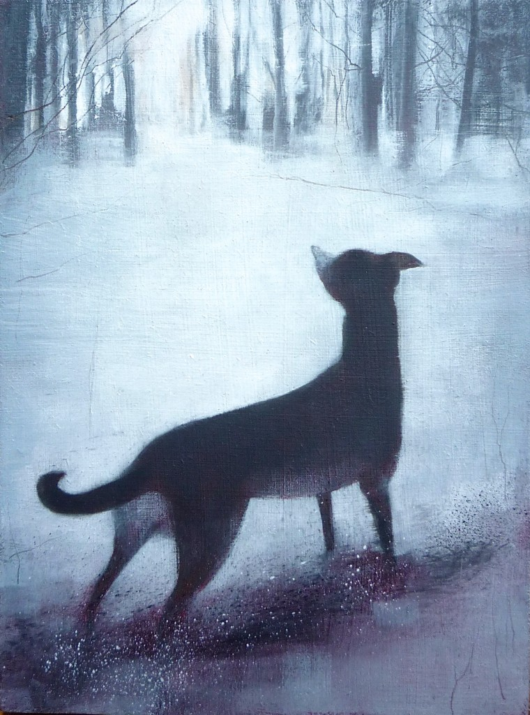 'Molly in the Snow' oil on board 20 x 15cm SOLD