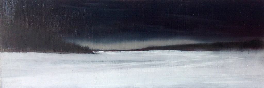 'Winter Night' oil on board 15 x 43cm SOLD