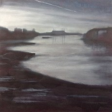 'Battersea from Vauxhall' 80 x 80cm oil on canvas SOLD