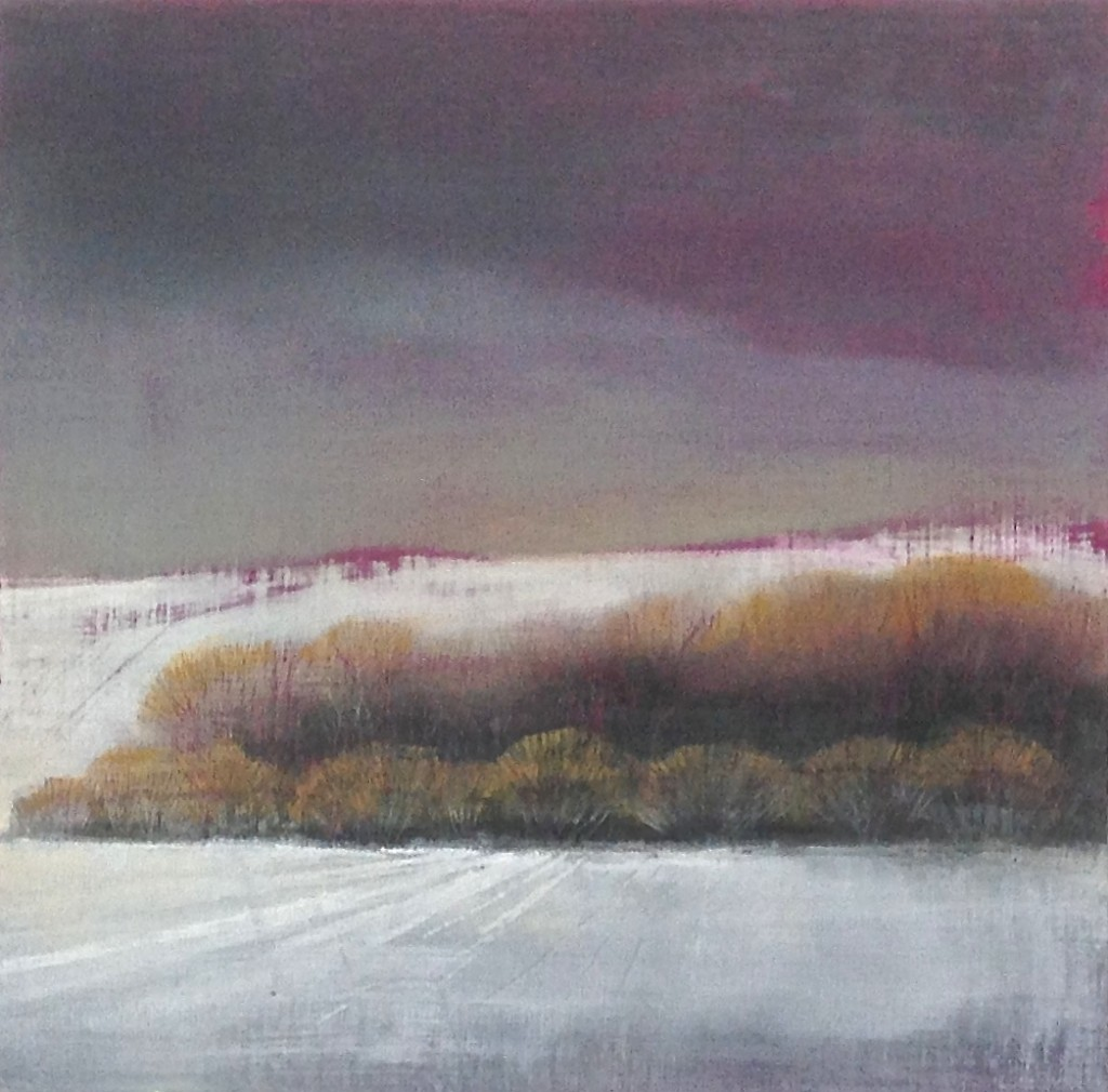 'Winter Field 3' oil on board 18 x 18cm SOLD