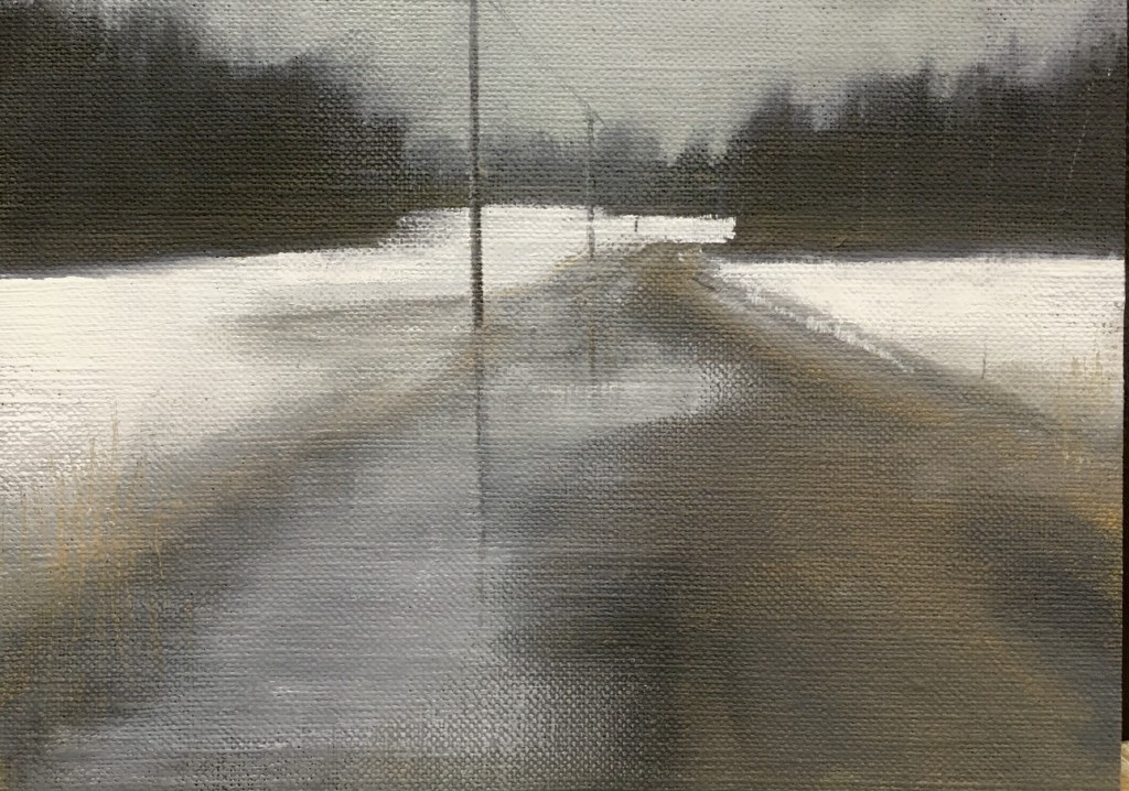 'Forest Road' oil on canvas board 13x18cm £150